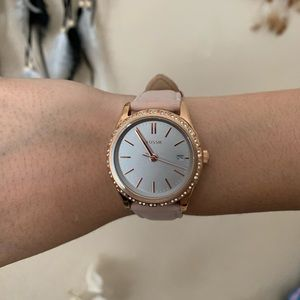 Adalyn Three-Hand Blush Leather Watch